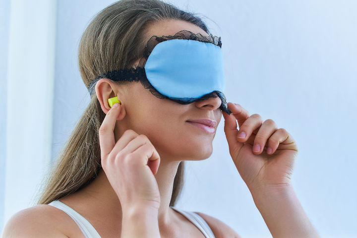 eye mask and ear buds